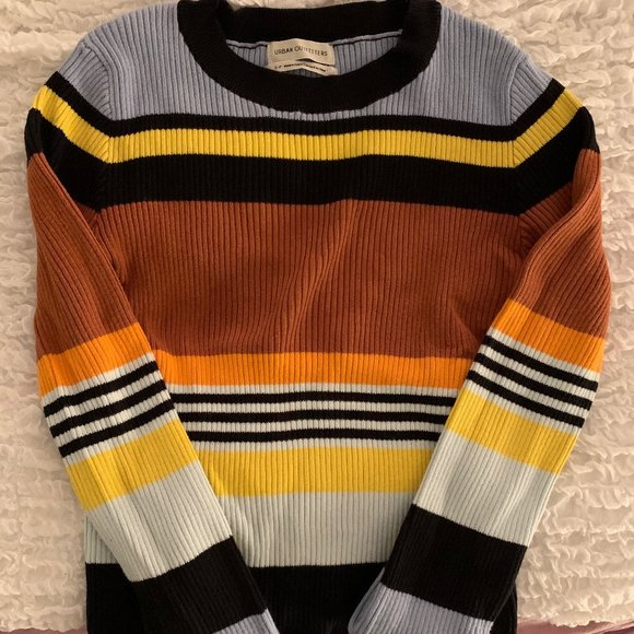 Ribbed Striped Crew Neck Jumper